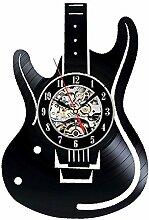 BABYQUEEN Retro kreative Hohl e-gitarre Wanduhr Schallplatten Indoor Dekorationen klassische Handarbeit Kunst Uhr