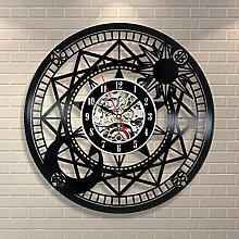 BABYQUEEN Retro kreative Hohlen Fernglas Wanduhr Schallplatten Indoor Dekorationen klassische Handarbeit Kunst Uhr