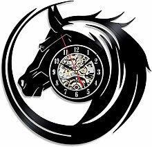 BABYQUEEN Retro kreative Hohlen Pferd totem Wanduhr Schallplatten Indoor Dekorationen klassische Handarbeit Kunst Uhr