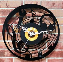 BABYQUEEN Retro kreative Musik Mikrofon Wanduhr Schallplatten Indoor Dekorationen klassische Handarbeit Kunst Uhr