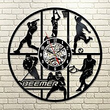 BABYQUEEN Retro kreative Sportarten Basketball Fußball Wanduhr Schallplatten Indoor Dekorationen klassische Handarbeit Kunst Uhr