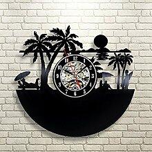 BABYQUEEN Retro kreativen Blick auf den Strand Wanduhr Schallplatten Indoor Dekorationen klassische Handarbeit Kunst Uhr