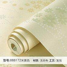 BABYQUEEN Tapete pastorale Vlies Tapete Schlafzimmer warme romantische Tapete Wohnzimmer Reis Gelb
