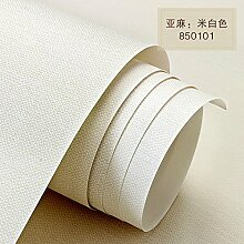 BABYQUEEN Vliestapeten moderne, einfache reine Farbe Leinen Tapete Wohnzimmer Schlafzimmer Studie Tapete Weißer Reis
