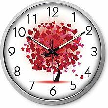 BABYQUEEN Wanduhr Mute Digitale Uhr Wohnzimmer Schlafzimmer Kreative Dekoration Uhr Silber