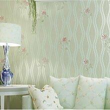 BABYQUEEN Warme und romantische Pastorale 3D Dreidimensionale große Blume Vliestapeten Wohnzimmer Schlafzimmer Hintergrundbild Hellgrün