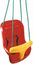 Babyschaukel Sitz / Schaukelsessel für Baby mit Gurt aus rotem Kunststoff inkl. Poly Seil Länge: 2,1m