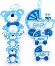 Babyset blau Bär aus Filz | knuellermarkt.de | Babyzimmer Jungen Babyparty-Dekoration für Jungen Baby Hängedekoration Babywagen Kinderzimmer