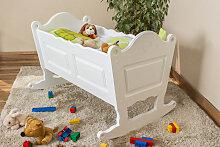 Babywiege Kiefer massiv Vollholz weiß lackiert