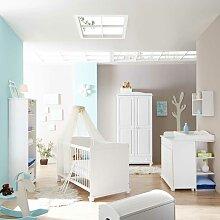 Babyzimmer in Weiß Kiefer Massivholz (fünfteilig)
