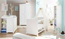 Babyzimmer Komplett Set LUZERN-22 massiv weiß,