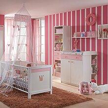 Babyzimmer weiss - rosa Babybett Wickeltisch
