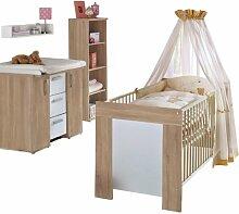 Babyzimmer Wildeiche Trüffel Wickelkommode Hochregal Babybett Wickeltisch