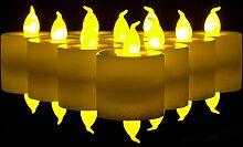 Babz 24 LED Flackerkerze Set batteriebetrieben - flackern wie eine echte Kerze Teelichter Flammenlos batteriebetrieben Flackerndes Teelich