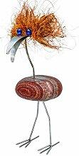 Bacardius der Coole stehend ideales Geschenk bunte Augen Steinvogel als Gartendekoration, Gartenfigur, Gartendeko, Edelstahlvogel nicht rostend mit Naturstein (Kein Stein ist wie der Andere Abweichungen vom Foto sind Normal) Größe S Höhe ca 25 cm