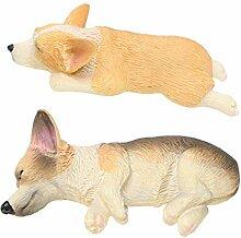 Backbayia 2 Stück Mini Corgi Hund Figur Tierfigur