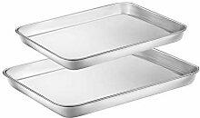 Backblech-Set aus Edelstahl, 2 Stück, Toaster,