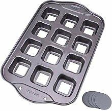 Backform für Brotkuchen, 12 Mulden, quadratisch,