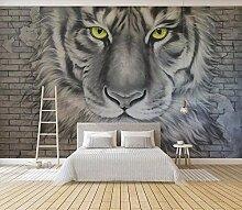 Backsteinmauer Effekt Tapete 3D Grau Tiger Kopf