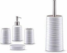 Bad Accessoire Set 5-teilig Keramik Design Weiss