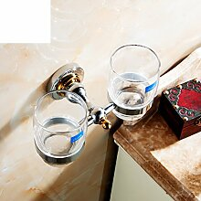 Bad-Accessoires/Glass Mundwasser Tasse Doppel/Alle Kupfer Zahnbürste Becherhalter/Pinsel Tasse