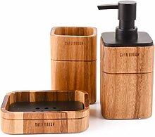 Bad Accessoires Set 3Stück enthalten Seifenspender, Becher, Seifenschale Satu braun Akazienholz Badezimmer Set für Küche, HOME Geschenk