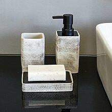 Bad Accessoires Set 3Stück enthalten Seifenspender, Becher, Seifenschale Satu braun silber grau, Badezimmer Set für Küche, HOME Geschenk