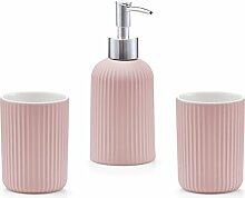 Bad-Accessoires-Set, 3-tlg., Keramik, rosé