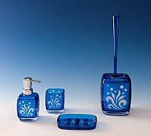 Bad Accessoires Set Ornella blau 4tlg. WC-Bürste Seifenspender Zahnputzbecher Seifenschale
