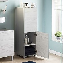 Bad Beistellschrank in Grau White Wash Optik