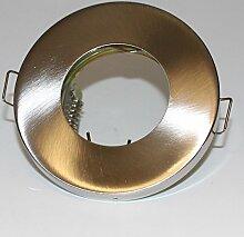 Bad Einbaustrahler GU10 GU5.3 Rahmen gebürstet rund Feuchtraum Spot Lampe Badleuchten Deckenleuchte