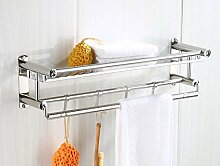 Bad Griff Nein Bohrhalter Handtuchhalter Edelstahl Bad Regal Doppel Bad Handtuch Rack WC Hardware Hängende Wand, Single Layer, 60cm