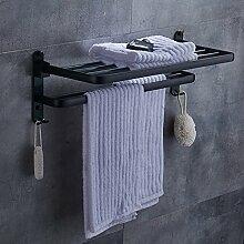 Bad Handtuchhalter Bad-accessoires Falten Handtuch Bar Schwarze Aluminium Handtuch Leertaste Badezimmerregale