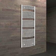 Bad-Heizkörper Florenz gebogen, 170x50 cm, 781 Watt Leistung, Anschluss unten, alpin-weiß, Handtuchhalter-Funktion, Der Renovierungsprofi