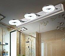 Bad Spiegel Lampe, (46CM-9W) LED Drei-Kopf Spiegel Scheinwerfer Einfache Edelstahl Bad Badezimmer Lampe / Spiegel Schrank Licht / Wandleuchte / Make-up Lampe , Anti-Rost-Wasser ( farbe : Weißes Licht )