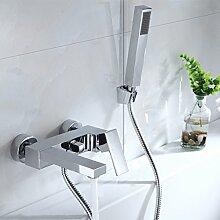 Bad Wannenarmatur Einhebel-Wannenmischer Armatur Wasserhahn Duscharmatur mit Handbrause für Bad