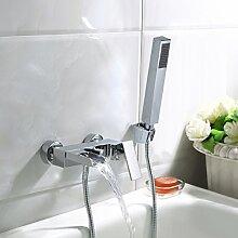 Bad Wannenarmatur Einhebel-Wannenmischer Armatur Wasserhahn Duscharmatur mit Handbrause für Bad Wasserfall