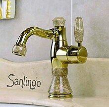 Bad Waschbecken Waschtisch Einhebel Armatur Gold Marmor Drehbar Sanlingo