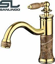 Bad Waschbecken Waschtisch Einhebel Armatur Gold