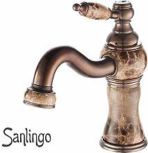 Bad Waschbecken Waschtisch Waschschale Einhebel Armatur Braun Marmor Sanlingo