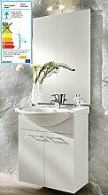 Bad Waschplatz YORK weiss, 2-tlg, Waschbecken-Unterschrank mit Keramikbecken, 2 Türen + Bad Wand-Spiegel beleuchtet, 67 cm breit, Montage hängend + stehend
