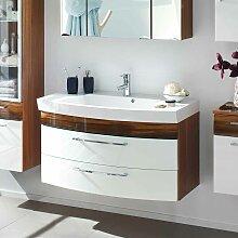 Bad Waschtisch 100 cm breit Weiß Hochglanz Walnuss