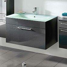 Bad Waschtisch in Anthrazit Hochglanz modern