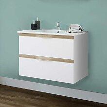 Bad Waschtisch in Weiß und Eiche Dekor zwei