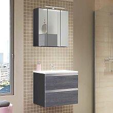 Bad Waschtisch mit Spiegelschrank Eiche Grau Optik