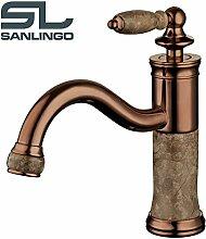 Bad Waschtisch Waschbecken Waschschale Einhebel Armatur Rot Bronze Marmor Sanlingo