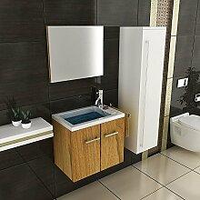 bad1a Gäste WC Waschtisch Waschbecken mit Unterschrank Badschrank inkl. Soft-Close Walnuß Badmöbel