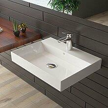 bad1a Gäste WC Waschtisch Weiß Badmöbel Keramik Handwaschbecken Waschbecken