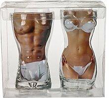 Bada Bing 2er Set Trinkglas Körper Frauen- und Männertorso Body Pärchen Geschenk 7861