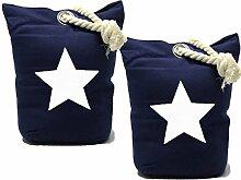 Bada Bing 2er Set Türstopper Stern Seil Sack Marine Blau Stopper Türsack Türdämpfer Vinta